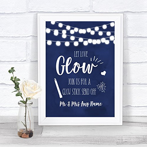 Navy Blue Watercolour Lights Let Love Glow Glowstick Personalized Wedding Sign ()