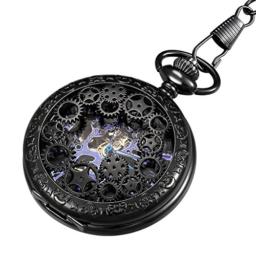 LYMFHCH Steampunk Blue Hands Scale Mechanical Skeleton Pocket Watch with Chain As Xmas Fathers Day Gift by LYMFHCH (Image #9)