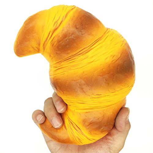 HooMore 7.5'' Jumbo Croissant Foam Squishies,Jumbo Bread Cream Big Squishies Slow Rising Super Croissant Bakery Squishy Kawaii Scented Fake Food for Play 1 Piece Squishies (Sweet Soooo)