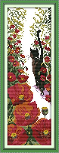 CaptainCrafts Hots Cross Stitch Kits Patterns Embroidery Kit - Red Flowers And Black Cat (WHITE) (Black Stitch Cross Cat)