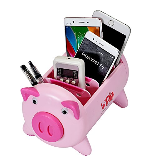 T O K G O - Creative Pigs Plastic Office Desktop Stationery Pencil Holder Makeup Pen holder Cell Phone Remote Control Storage Box Organizer with 4 Adjustable Spaces Photo #6