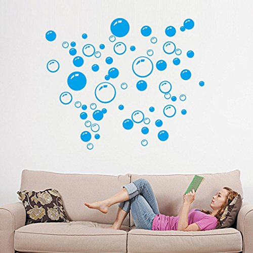 Bigban 1 PC Bubbles Circle Removable Wall Wallpaper Bathroom Window Sticker Decal Home DIY (Blue) (Bubble Decals)