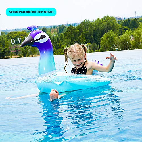 - WISHTIME Giant Peacock Swim Pool Float 2019 Summer Peacock Inflatable Pool Float with Glitters Swim Ring Inflatable Lounge Raft Tube Summer Toys for Kids