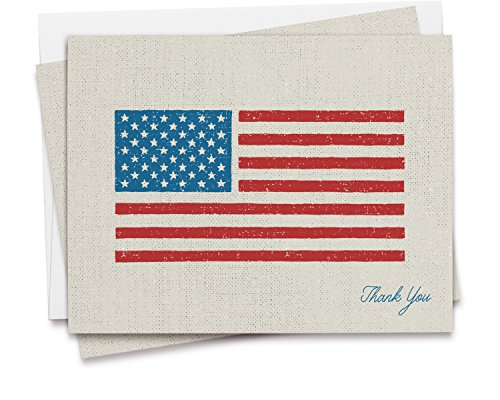 American Flag Thank You Card Set - 12 Recycled Cards and Envelopes - Made in - Cards Usa