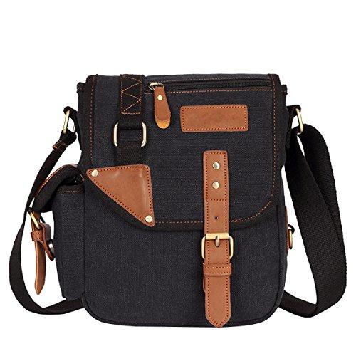 Men's Messenger Business Shoulder Canvas Bag Black Handbag Ar08vAn