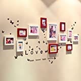 Home@Wall photo frame Solid Wood Photo Wall + Love Wall Stickers Photo Wall Photo Frame Fashion Creative Combination Wall Living Room Bedroom Home (Color : C, Size : 138100CM)