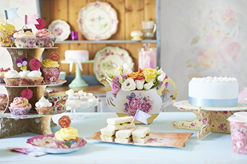 Talking Tables Truly Scrumptious Floral Cake Stand (3 Tier) for a Tea Party, Wedding or Birthday, Multicolor by Talking Tables (Image #4)