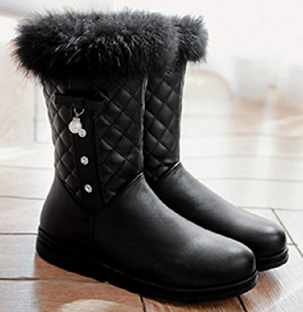 VECJUNIA Girls Fashion Snow Boots High Top Nonslip Flat Shoes Cold Weather