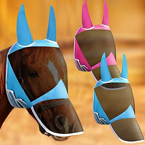 2 Pieces Adjustable Horse Full Fly Mask Breathable...