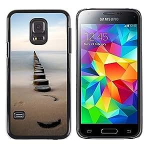 iKiki Tech / Estuche rígido - Sea Pier Dock Sand Ocean Horizon - Samsung Galaxy S5 Mini, SM-G800, NOT S5 REGULAR!