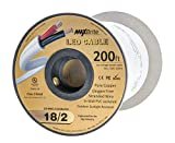 18AWG Low Voltage LED Cable, 2 Conductor, Outdoor Rated, Jacketed In-Wall Speaker Wire UL/cUL Class 2, Sunlight Resistant (200ft Reel)