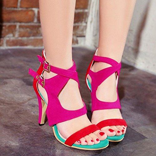 TAOFFEN Mujer Tacon Alto Cut-out Sandalias Moda Punta Abierta Verano Zapatos Rojo