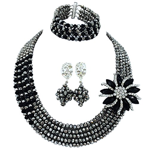 aczuv 5 Rows Nigerian Beads Jewelry Set African Beads Necklace Wedding Party Jewelry Sets (Silver Black) -