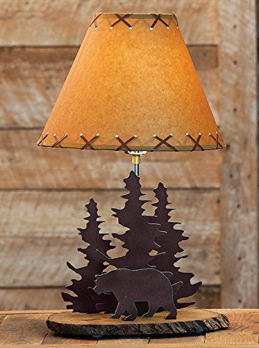 Black Forest Décor Bear Rustic Metal Lamp