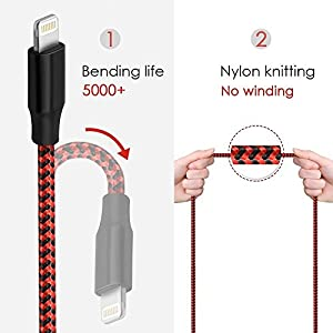 Lightning Cable, Bojuren 3Packs 6FT iPhone Charger Cable Nylon Braided Extra Long Durable Fast Charging Cord for iPhone X/8/7/7 Plus/6s/6s Plus/6/6 Plus/5/5S/5C/SE/iPad and iPod (Black+Red)