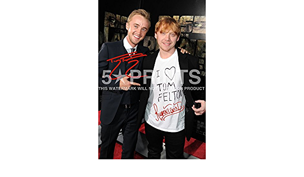 Póster firmado de Harry Potter Tom Felton Draco Rupert Grint Ron Weasley PP de 30,5 x 20,3 cm