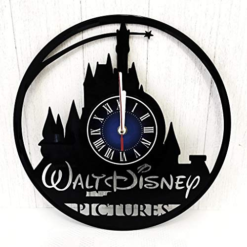 Prime Gifts for You Walt Disney Gift Wall Clock Made from 12 inches / 30 cm Vintage Vinyl Record | The Disney Movie | Disney Villains Gift Women Boys Girls -