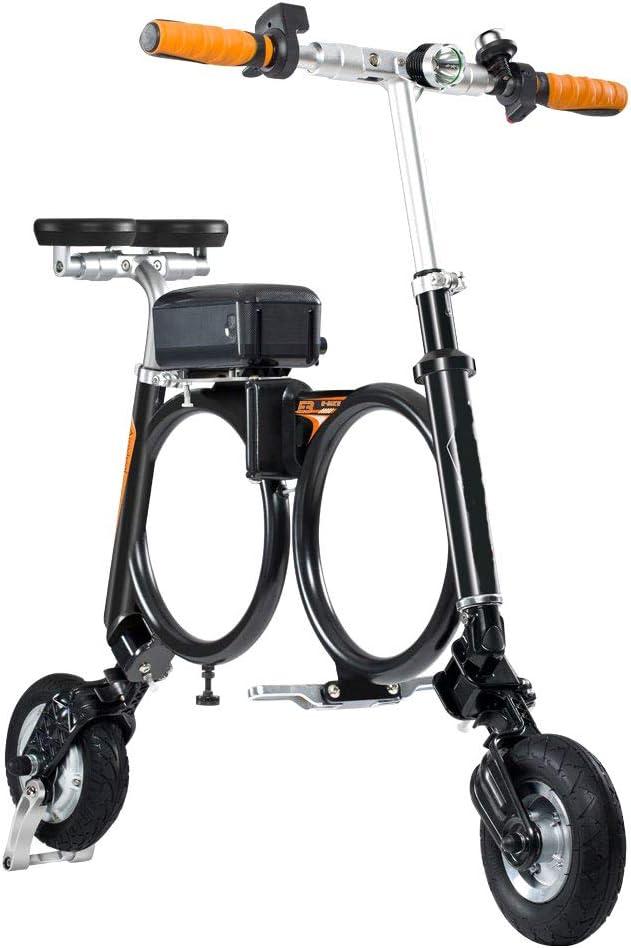 電動2輪スクーターミニバージョン、キャリングバッグ付き折りたたみ式Eバイク、リチウム電池モペット最大速度20Km / h 黒