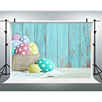 Maijoeyy 7x5ft Easter Backdrops Easter Eggs in Bamboo Basket Photo Backdrop Blue Wooden Wall Background for Pictures JXUS-609563624-D1