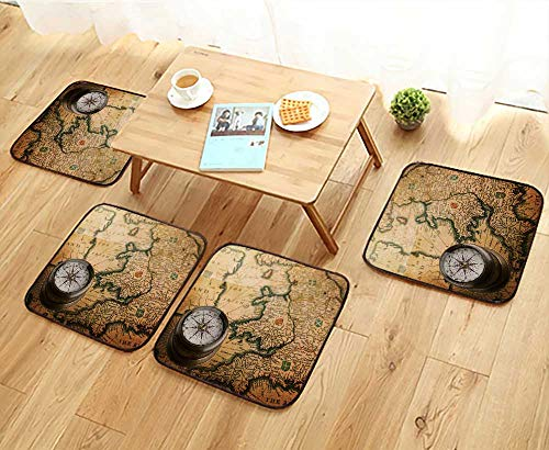 Luxurious Household Cushions Chairs Old Compass on Vintage map (Heptarchja Anglo Saxonum Jan Jansson) Soft and Comfortable W31.5 x L31.5/4PCS Set ()