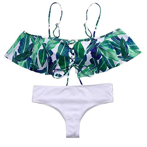 Leoy88 Fashion Women Lotus Leaf Printed Off-Shoulder Ruffled Bikini Set Swimsuit (S, - No Bikini Strap