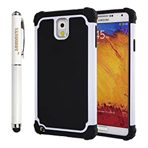 Hybrid Dual Layer Armor Defender Protective Case Cover for Samsung Galaxy Note 3 III + VanGoddy Stylus Pen (White)