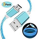 samsung galaxy e5 LED Charging Cable Micro USB, Visible Flowing Lighting Up Fast Charger Syncing & Data Cord for Samsung Galaxy S7 Edge,S6, Motorola Moto E5 Play, E5 Plus, Nokia, Sony and More Android Devices (Blue)