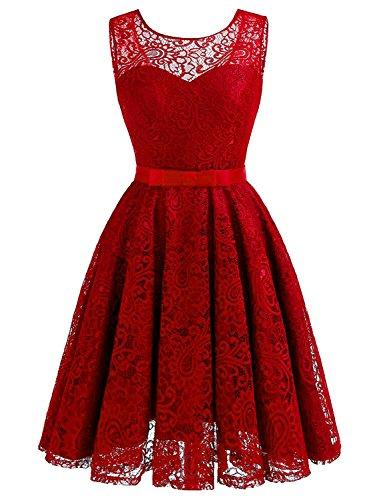 Ballkleider Abendkleider Abschusskleider Ärmellos Faltenrock kurz aus CSD428 Rot Lace Damen Clearbridal YnwEqWAXfx