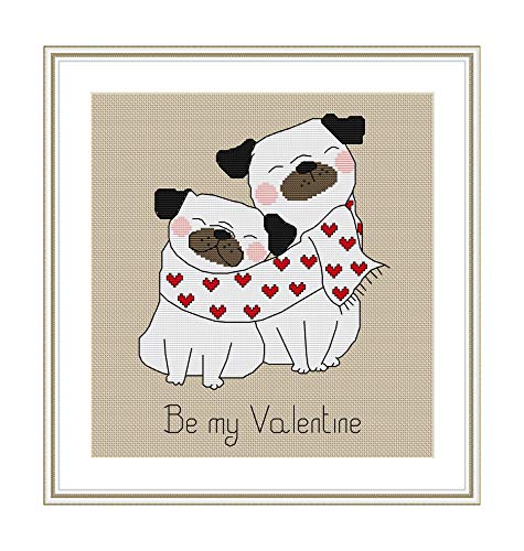 Cross Stitch Pattern Be My Valentine Cute Pug Puppies Counted Chart PDF on CD Unique Easy to Make Perfect Gift