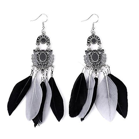 slowsilent 1 Pair Vintage Bohemian Feather Tassel Dangle Earrings Handmade Jewelry Gift for Women Lady Girls - Colored Feather Earrings