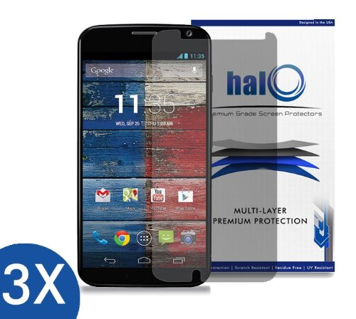 Halo Screen Protector Film High Definition (HD) Clear (Invisible) for Moto X (3-Pack) - Lifetime Replacement Warranty