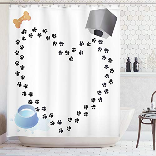 Ambesonne Dog Lover Decor Collection, Puppy Love Heart Shaped Trail Of Paw Prints Bone Dog House Kennel Water Drops, Polyester Fabric Bathroom Shower Curtain Set with Hooks, Black White