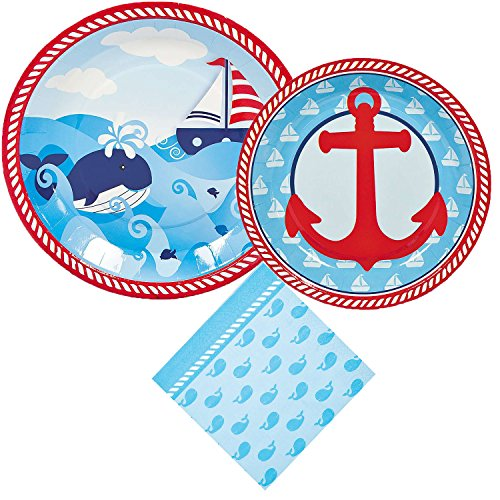 Nautical Sailor Party Supply Bundle For 8 Guests: 3 Items - Large Plates, Small Plates, (Nautical First Birthday Supplies)