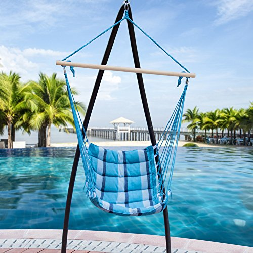 Lazy Daze Hammocks Deluxe Padded Cotton Hanging Hammock Swing Lounger Chair Seat, Patio Porch Swing Seat for Indoor Outdoor, Capacity 350 lbs (Blue Ocean Stripe)