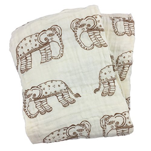 Bambino Land Double Layer Muslin Swaddling Blanket (Natural Elephant) Made from Organic Cotton