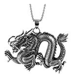 Xusamss Hip Hop Titanium Steel Animal Tag Pendant Dragon Necklace,22Inch Chain