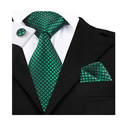 Plaid Silk Necktie (Barry.Wang Emerald Green Silk Tie Set Tartan Ties for Men)