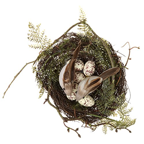 Jili Online Holiday Decor 2pieces Bird nest 4pieces Artificial Birds 10pieces Eggs Set Photos ()