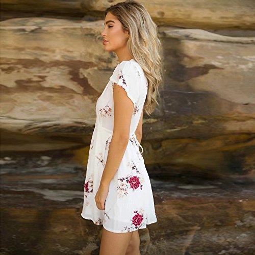 V Abito Spiaggia di Boemo Vestiti Sundrss Mini Corti Collo Vestito Fiori Topgrowth Bianco Donna Stampa Estivi Vestito Ragazza w4qntvO