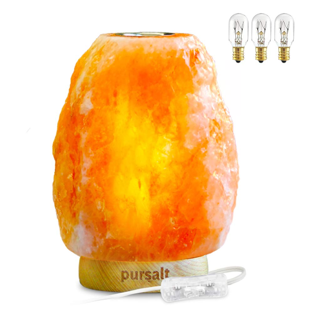 Pursalt Himalayan Salt Lamp Natural Crystal Lamp with Small Plate to Diffuse Aromatherapy and Essential Distinctive Rock Aroma Lamp Hand Carved Aromatherapy Night Light by pursalt (Image #1)