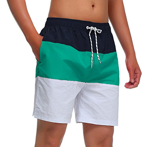 MILANKERR MEN'S SWIM TRUNK Beach shorts (M(Waistline:34'-36'), Green)
