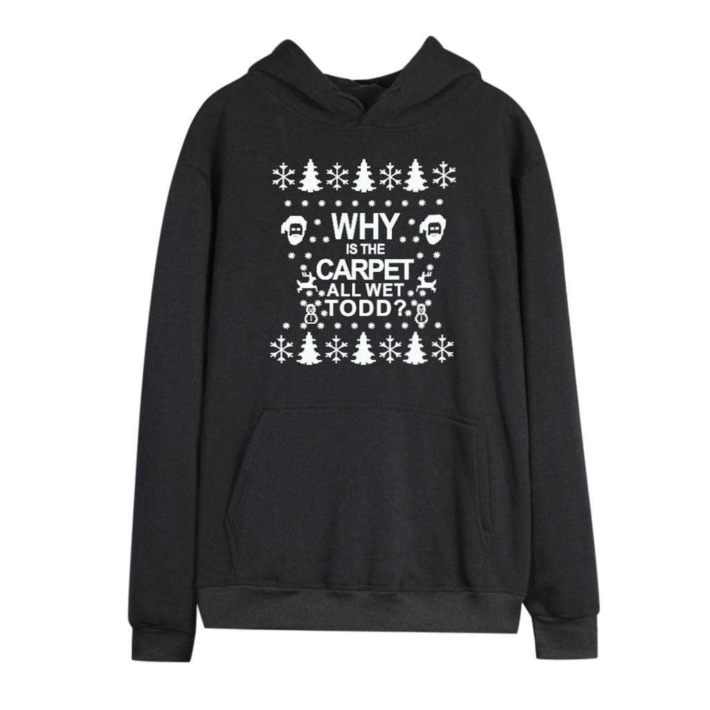 ZOMUSAR Christmas Print Long Sleeve Plus Velvet Thick Printed Pullover Sweater WHY is The CARRET All Wet Todd Black by ZOMUSAR