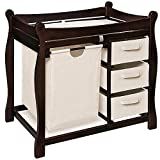 Badger Basket Sleigh Changing Table Sleigh Style Espresso Changing Table with Hamper and Baskets
