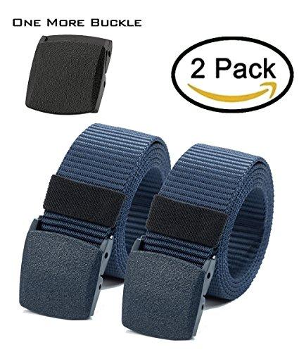 Waist Belt Nylon Canvas Hiker Belt Military Tactical Belt Plastic Buckle (2pcs. All (132 Zone Package)