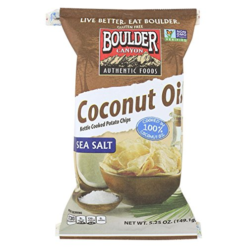 Boulder Canyon Coconut Oil with Sea Salt Kettle Cooked Potato Chips, 5.25 Ounce -- 12 per case.