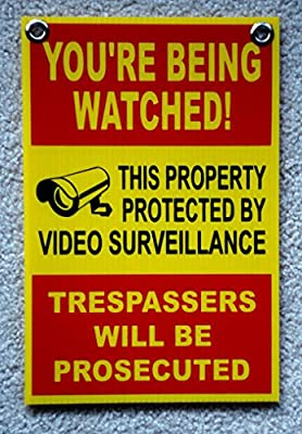 "1Pc Notable Unique You're Being Watched Signs 24Hr Protection Surveillance Security Decal Under Cameras Protected Sign Outdoor Neighbor Warning Video Hr Reflective Decals Size 8""x12"" w/ Grommets"