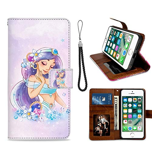 for iPhone 7 Plus, iPhone 8 Plus Wallet Case Princess Jasmine Flip Leather Case with Kickstand PU Leather Stand Folio Cover Case for iPhone 7/8 Plus -