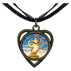 Chicforest Bronze Retro Style Olympic Games flame and five rings Heart Shaped Pendant
