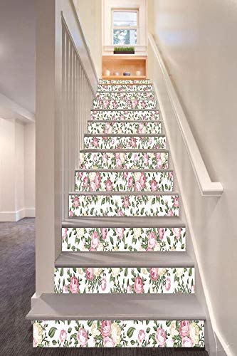 (anselc05ls House Decor 3D Stair Riser Stickers Removable Wall Murals Stickers,Roses Rosebuds Leaves Bouquet Flower Arrangements Bridal Victorian Style Art Decorative,for Home Decor 39.3