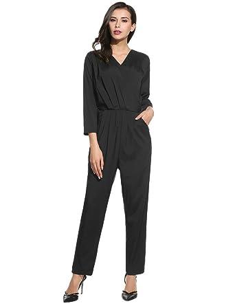 wholesale dealer 468c9 95902 Jumpsuit Damen Lang, pagacat Elegant V-Ausschnitt 3/4 Ärmel Reißverschluss  Overall mit Taschen für Party Büro und Strand